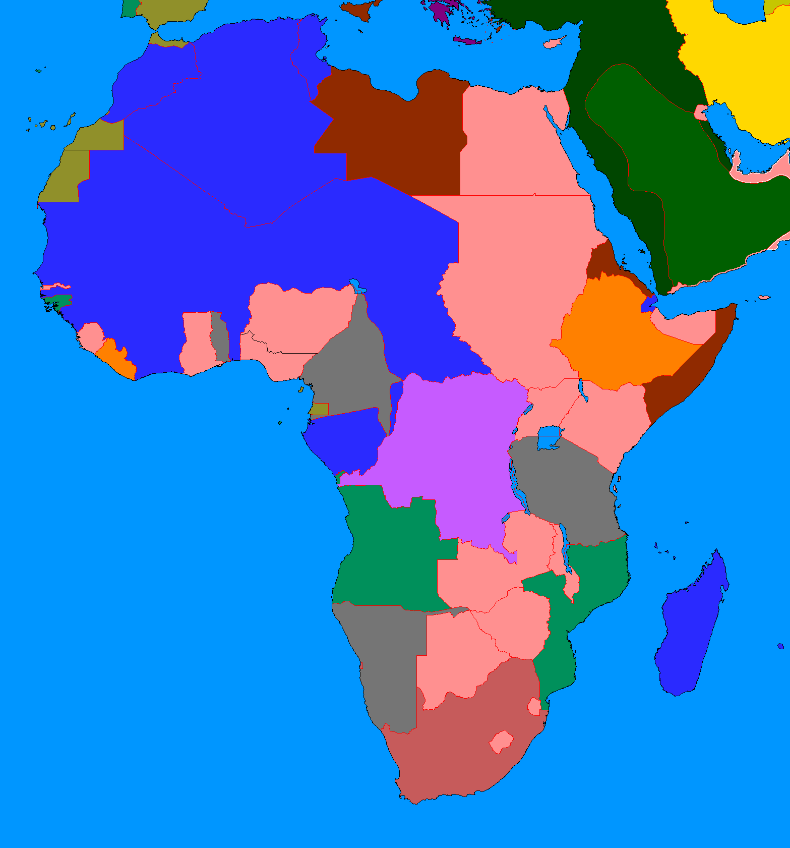 africa map 1914 blank
