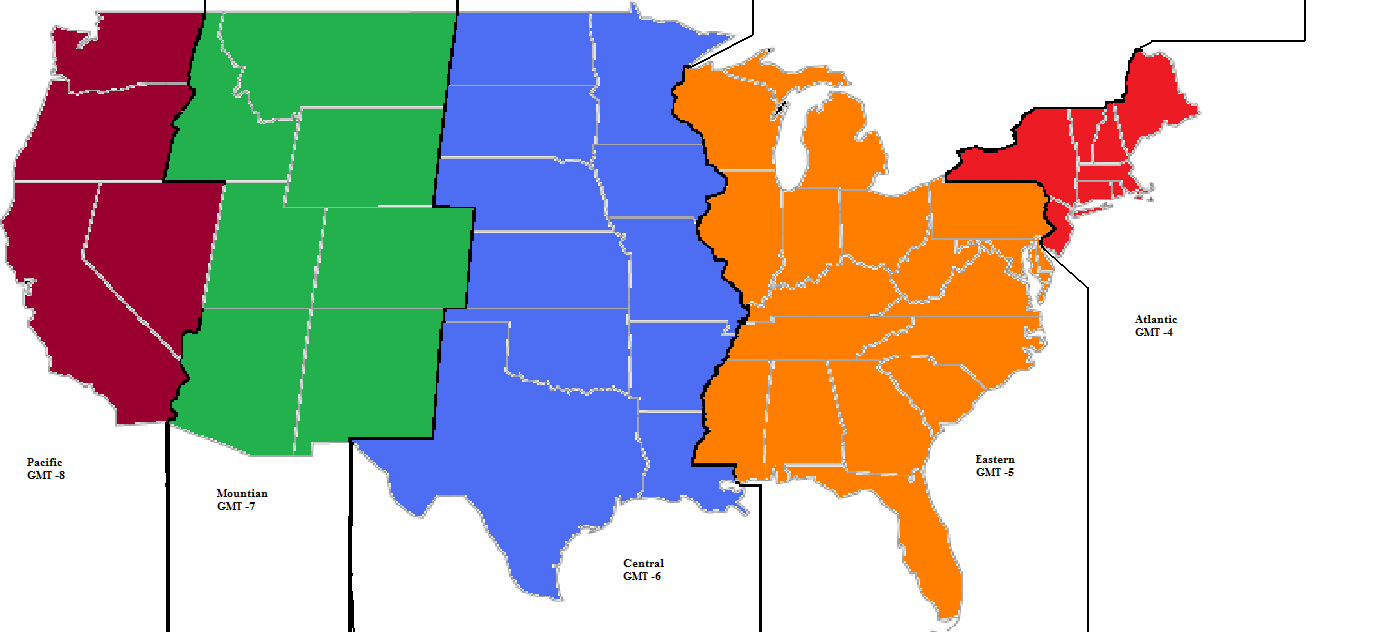 The Alternate Time Zones Thread Alternate History Discussion - Us map with states and time zones printable
