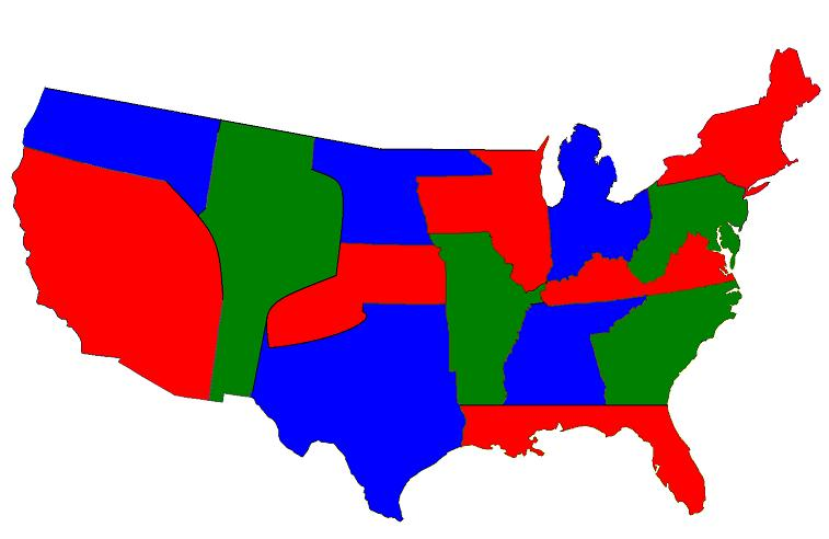 Post Alternate US state border mapsNo specific
