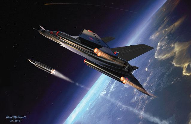 Avro Canada CF-105  Arrow feuert Antisatellitenwaffe (nur Projekt).jpg