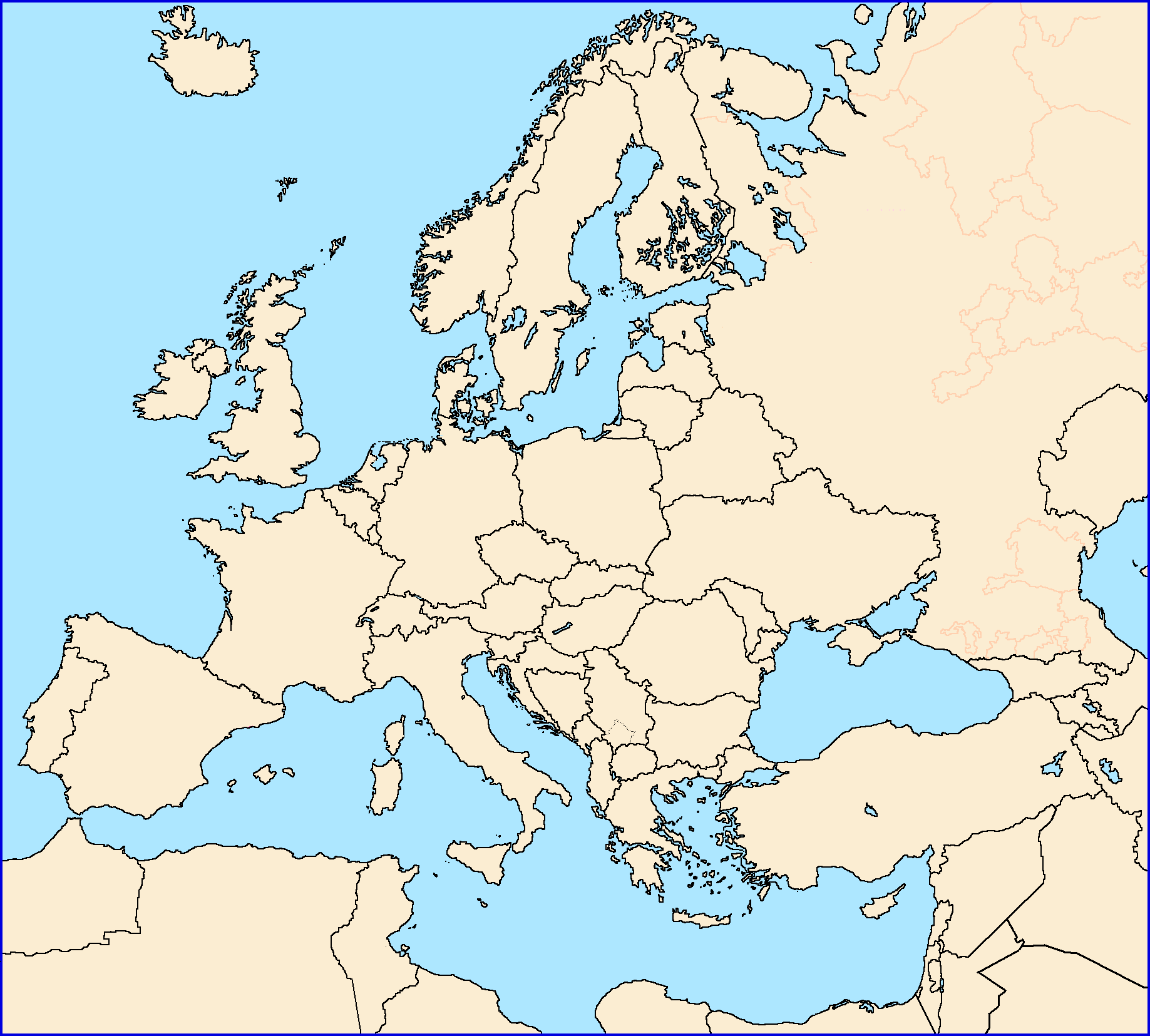 Blank Map Of Europe With Borders   Best Photos Of Border Imagedge.Org