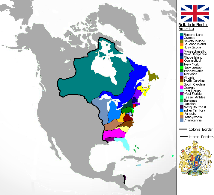 Political Structure Of A British North America No US - Map Of The Us And Britain