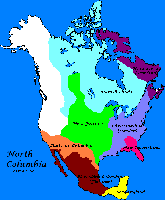 Colonization Of Columbia Alternate History Discussion - Sweden map 1600