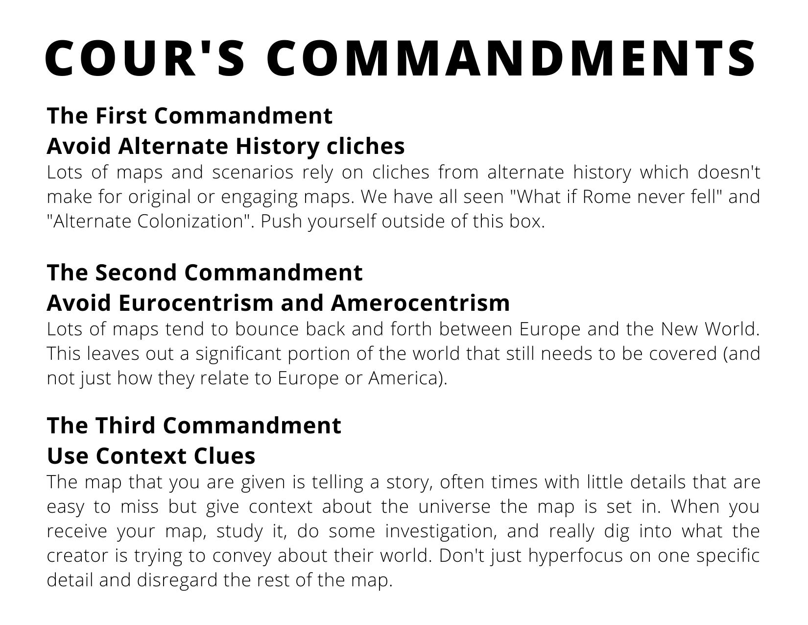 Cour's Commandments