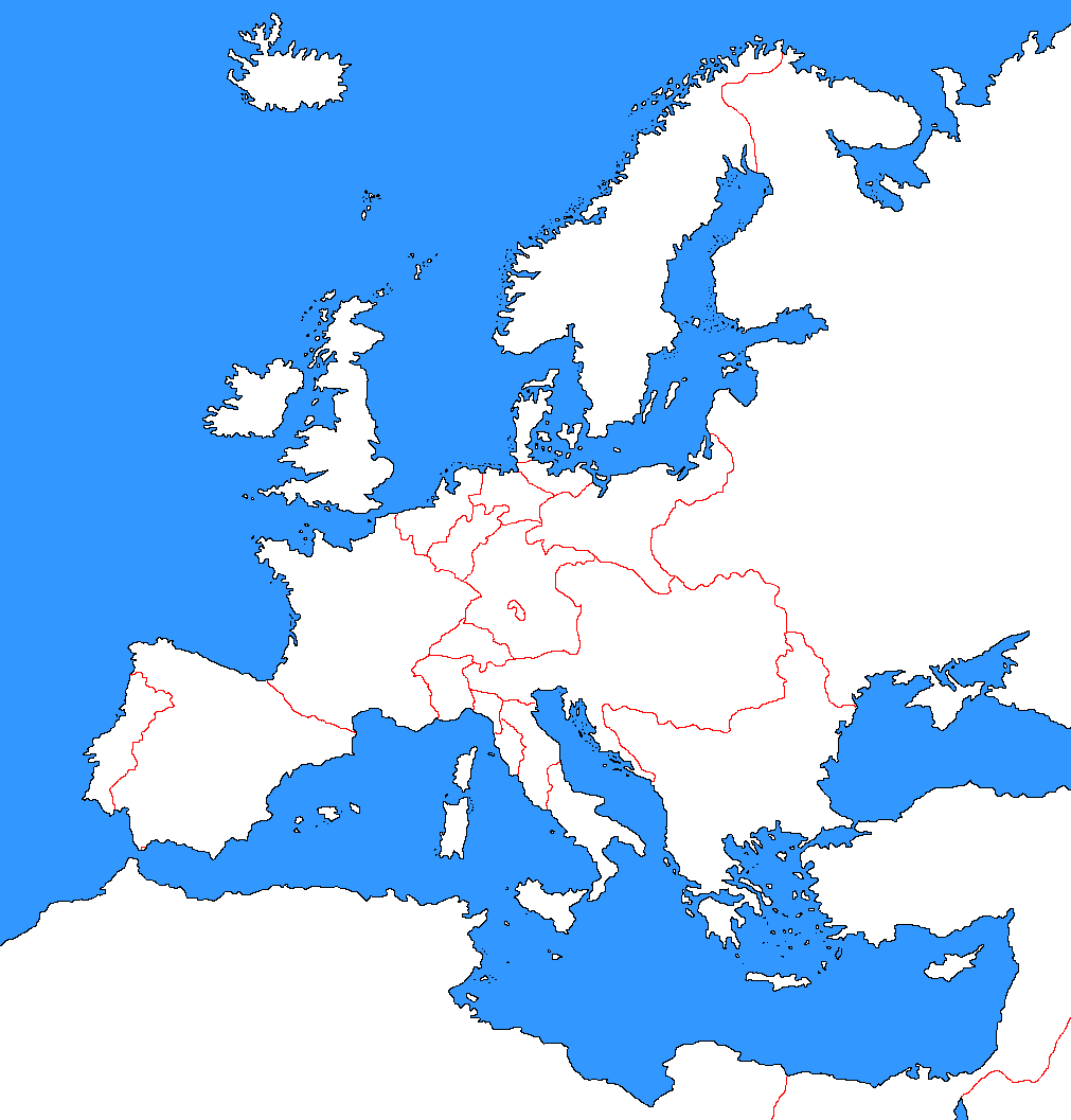 blank northern europe map