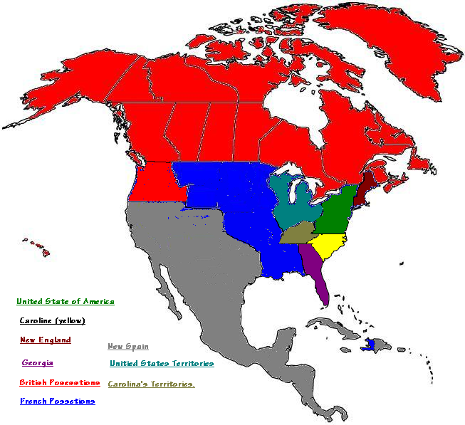 Colonies Become Four Nations Alternate History Discussion - Map of us 13 colonies