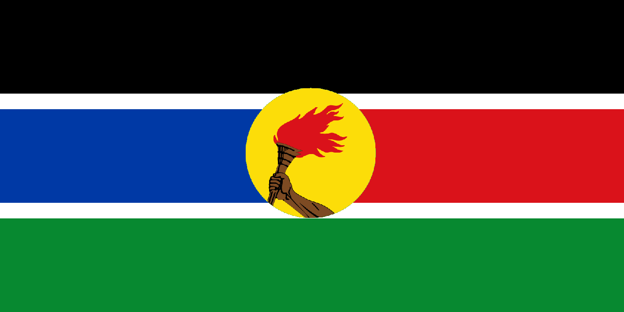 Flag of Democratic Peoples Republic of South Sudan (2019-Present) and Peoples Revolutionary Ar...png