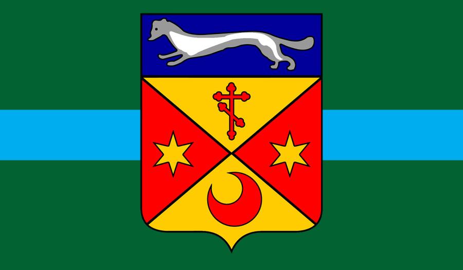 Flag of Teklistan with COA.png