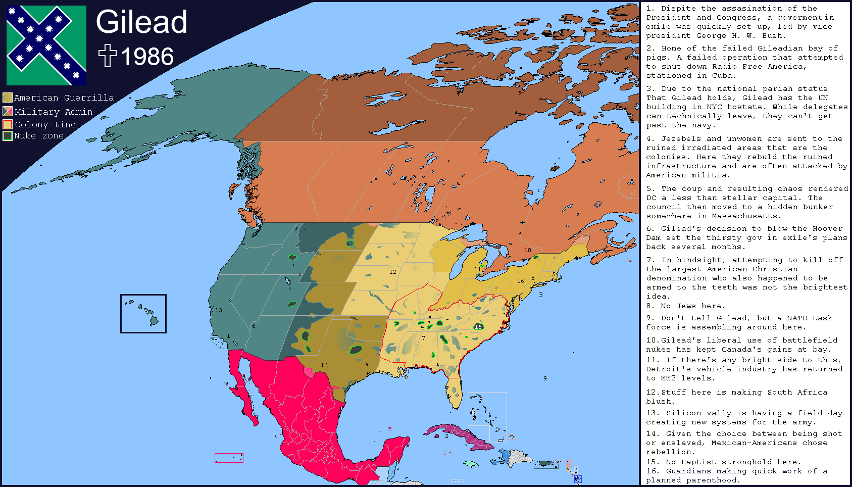 Republic Of Gilead Map What Does The World Of The Handmaids - Dystopian us map