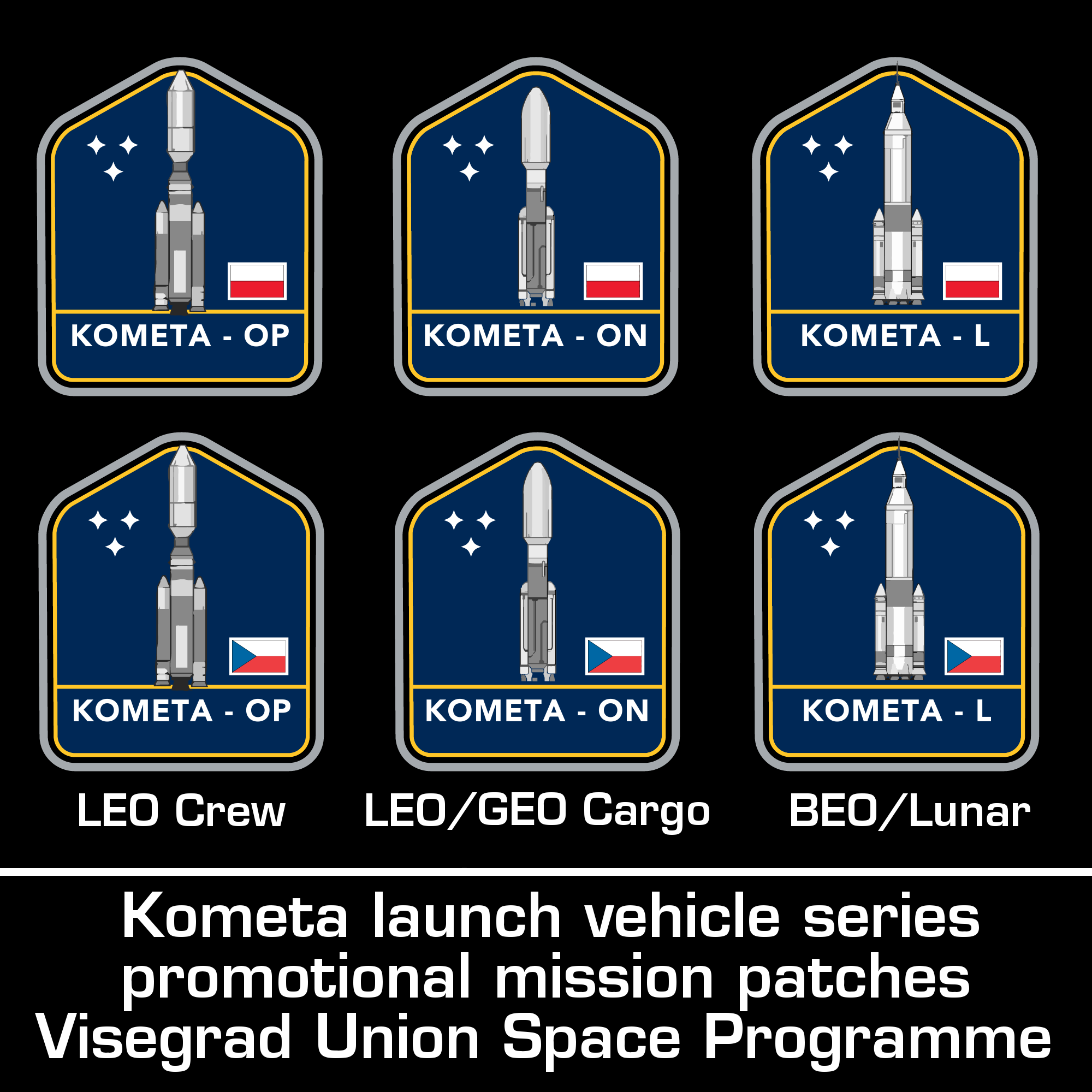 Kometa family LVs mission patches (Polish and Czech).png