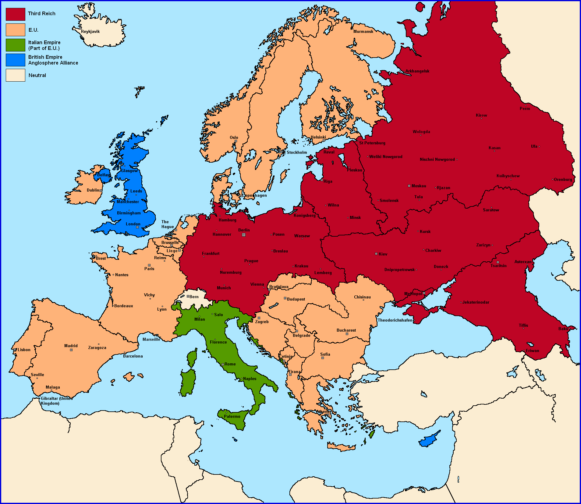 Nazi Map Of Europe.Challenge Most Likely Map After Nazi Victory Page 2 Alternate