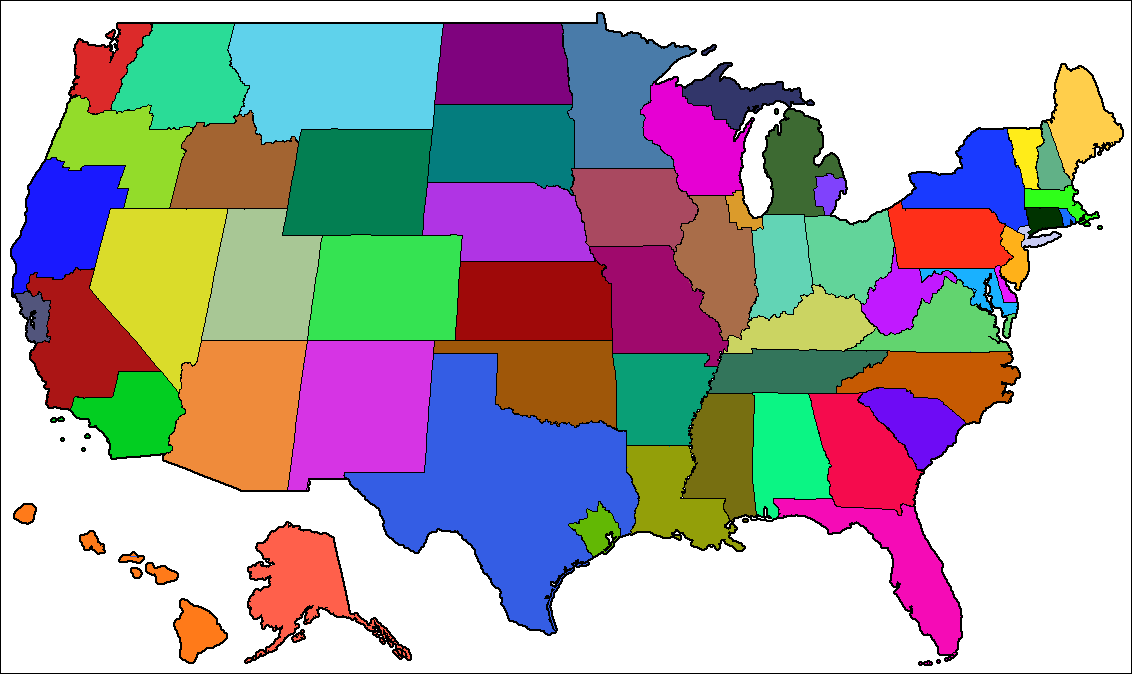 Post Alternate US State Border MapsNo Specific POD Needed - Alternate us map