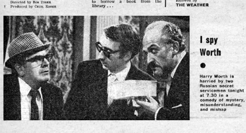 A picture of Harry Worth, Stefan Gryff and Roger Delgado from a copy of Radio Times