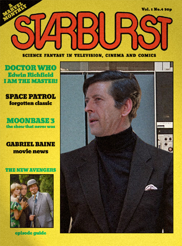 A mock-up cover for a copy of Starburst magazine. The cover features Edwin Richfield as The Master in black jacket and black turtleneck sweater.