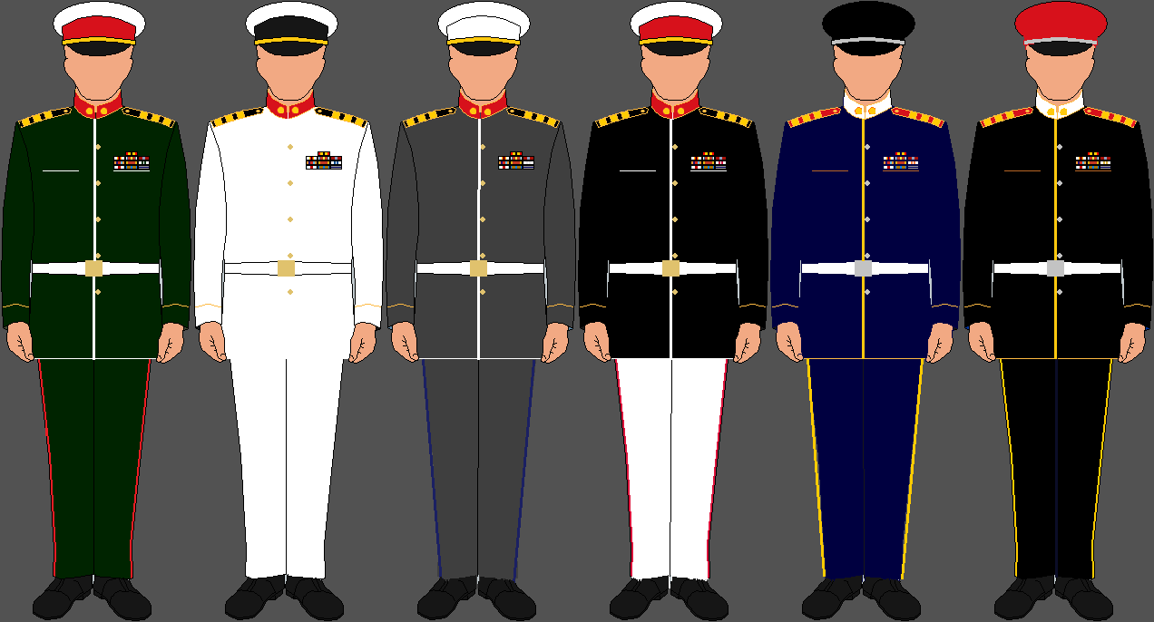 Army navy airforce marines uniforms