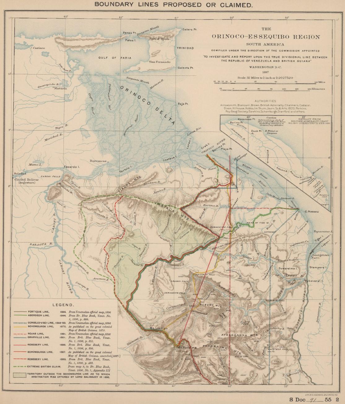 Venezuela-British Guiana Boundary Lines Proposed or Claimed 1897.jpg