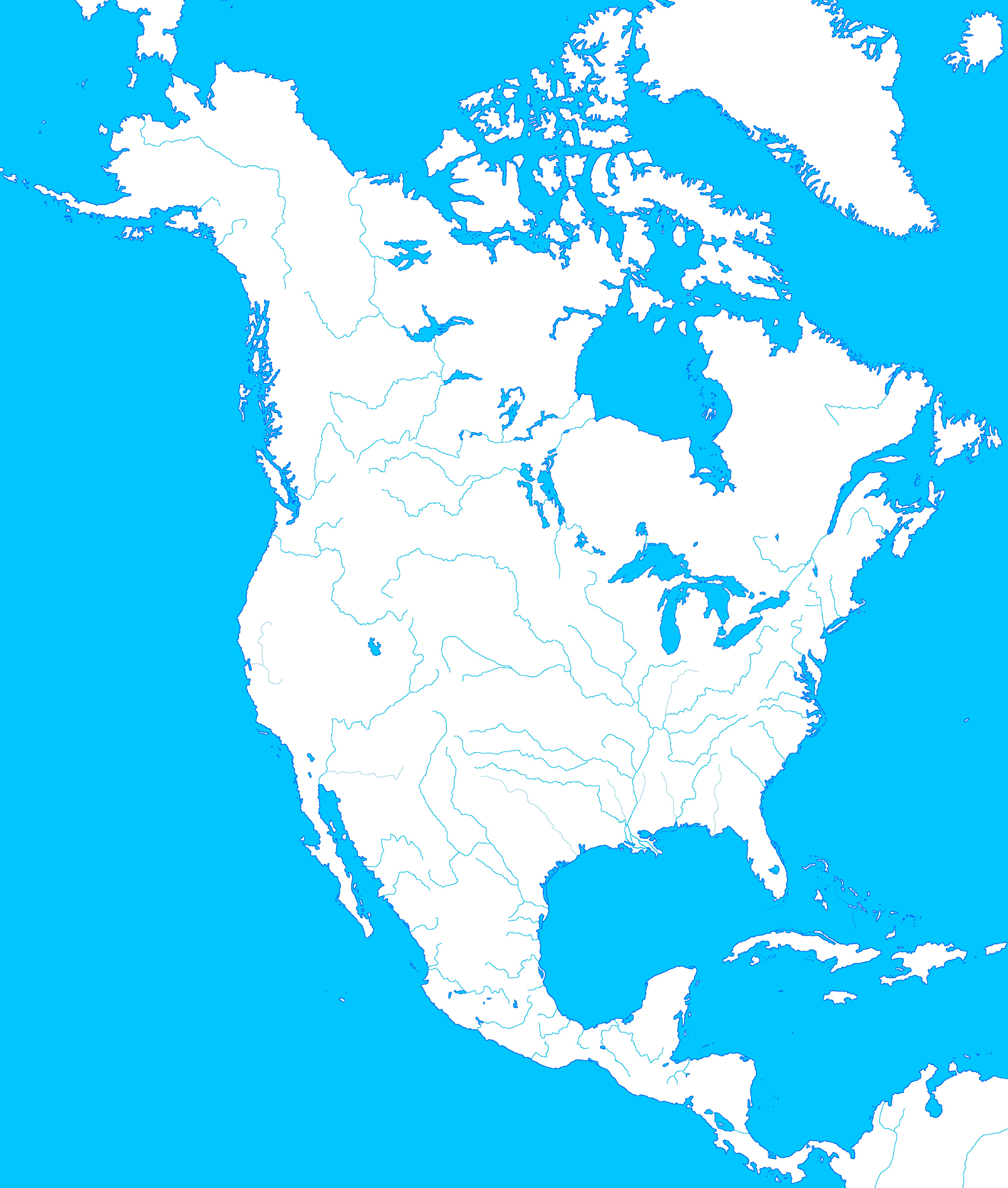 Blankmapdirectoryallofnorthamerica Alternatehistorycom Wiki - America map with rivers