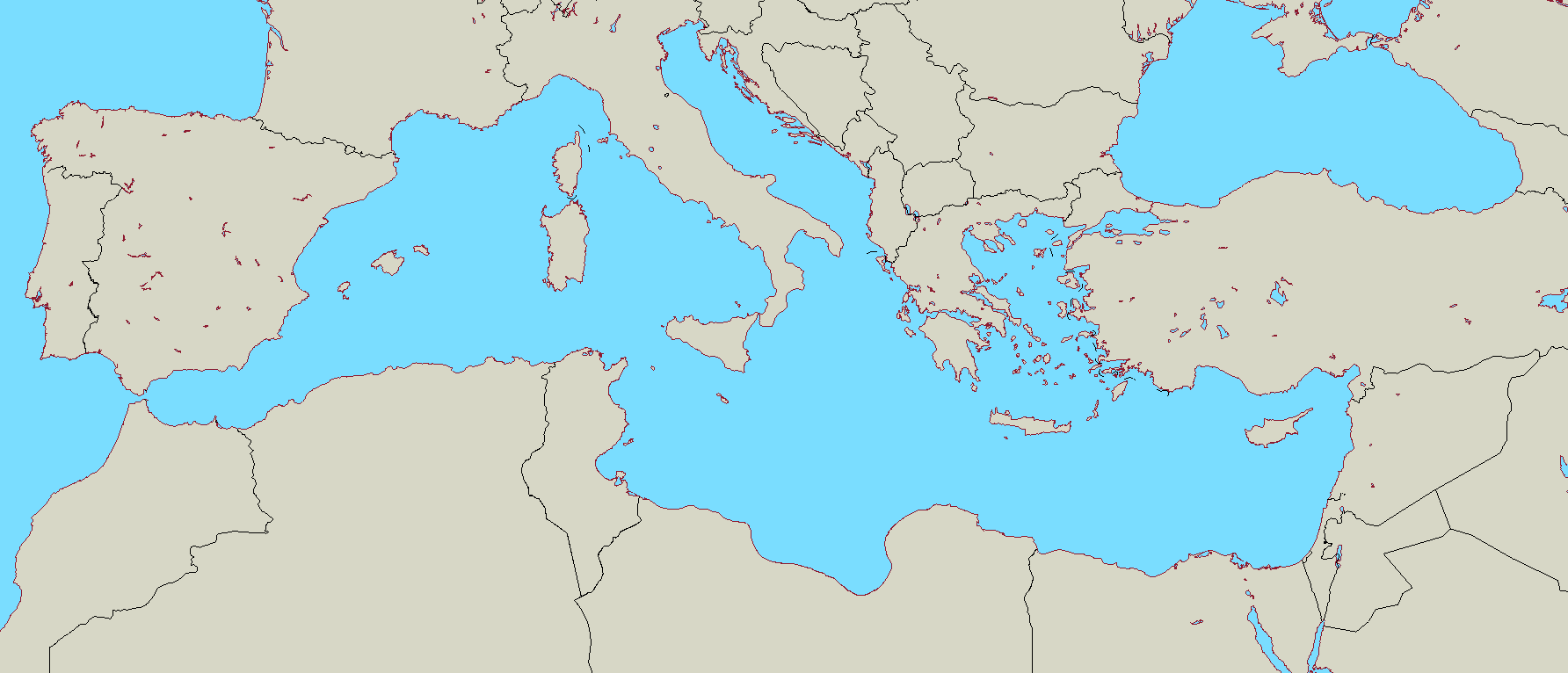Blank Map Of Europe And Mediterranean