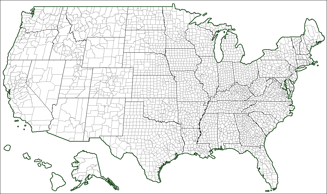 Us Map County Lines Us Free Printable US Maps - Map of usa blank