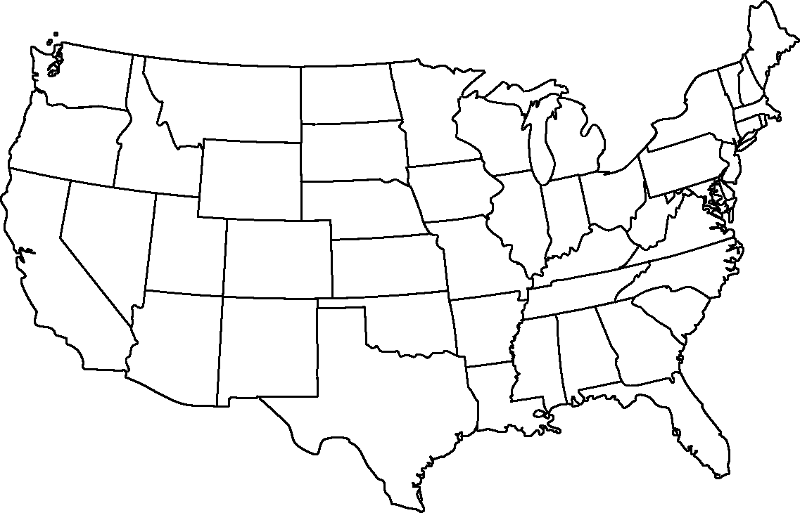 Blank Map Of The United States Without States Wall HD - Blank us map without states
