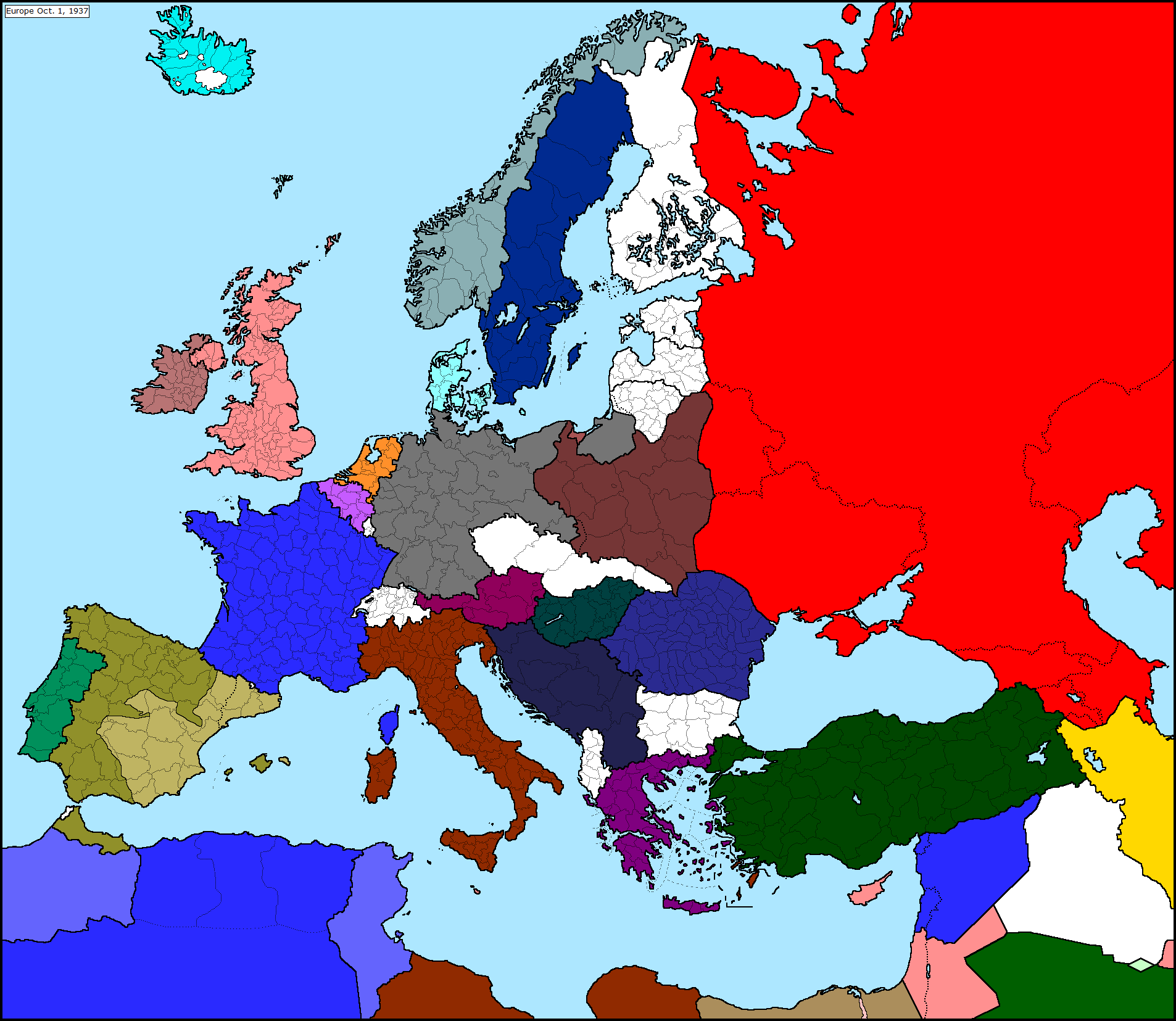 Blank Map Of Europe - Map of europe during ww2