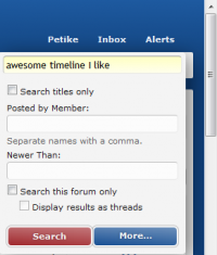 Entering a term or phrase into the search line (forum level search box)