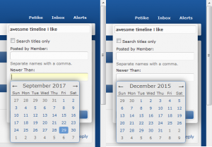 Specifying further search info in the interactive calendar
