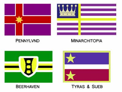 Flags of micronations founded by individual AH.commers (selected samples)