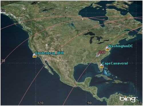 Ground track of ISZ-1 over North America.